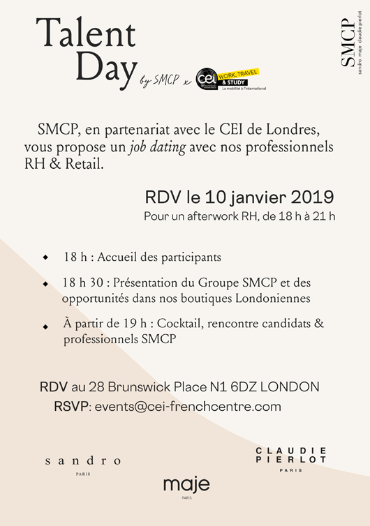 Talent Day by SMCP - Rendez-vous recrutement à Londres